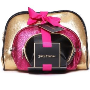 🆕 Juicy Couture 3pc Metallic Cosmetic Bag Set